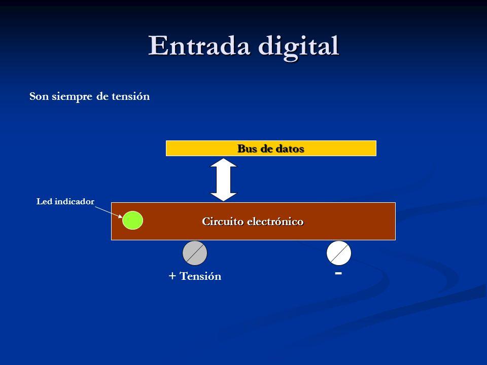 Entrada digital Son siempre de tensión Circuito electrónico Bus de datos + Tensión - Led indicador