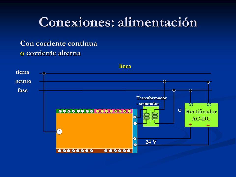 Conexiones: alimentación Rectificador AC-DC SS + Con corriente continua o corriente alterna línea fase neutro tierra 24 V Transformador - separador O