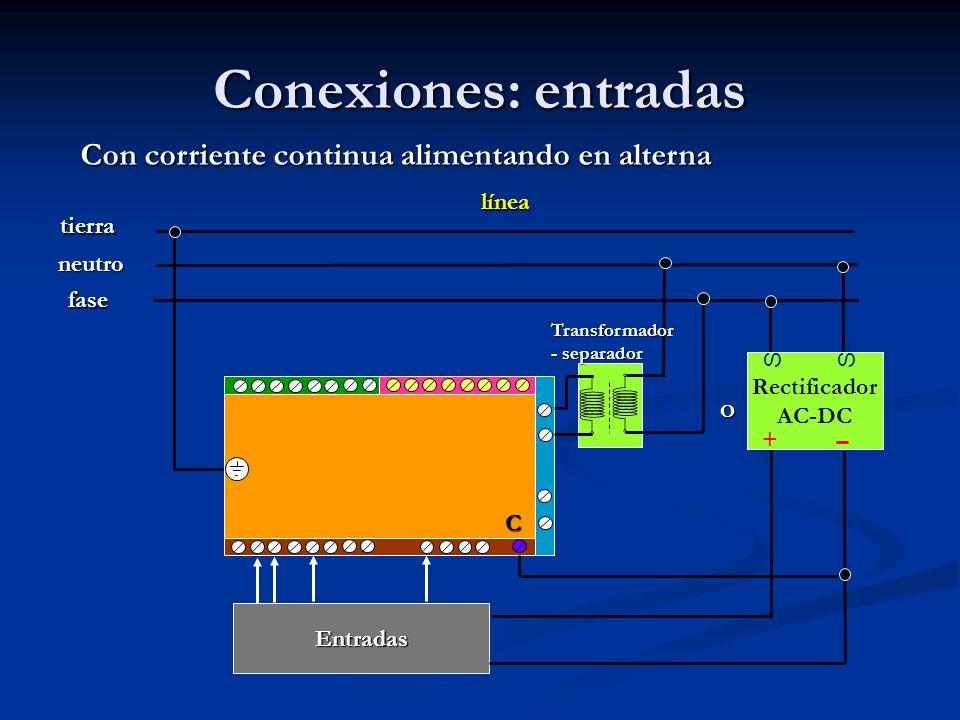 Conexiones: entradas Rectificador AC-DC SS + Con corriente continua alimentando en alterna línea fase neutro tierra Entradas C Transformador - separad