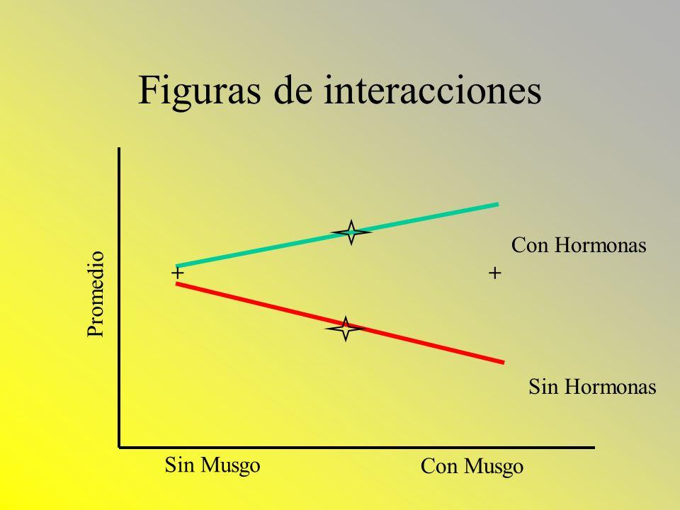Figuras de interacciones Sin Musgo Con Musgo Promedio Con Hormonas Sin Hormonas ++
