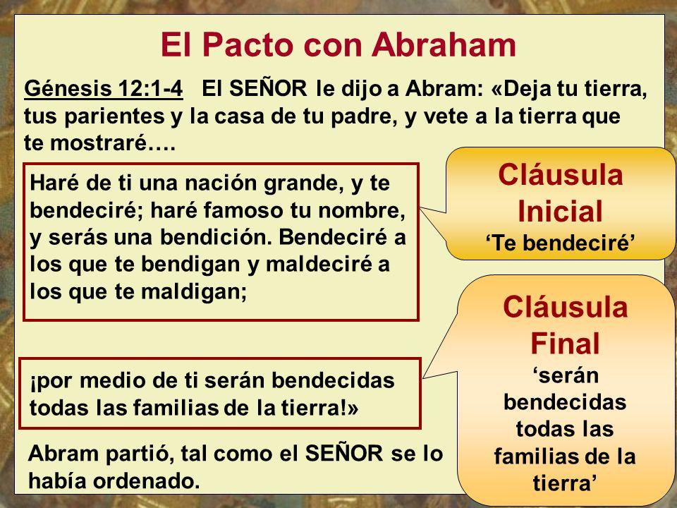 El Pacto con Abraham Génesis 12:1-4 El SEÑOR le dijo a Abram: «Deja tu tierra, tus parientes y la casa de tu padre, y vete a la tierra que te mostraré….