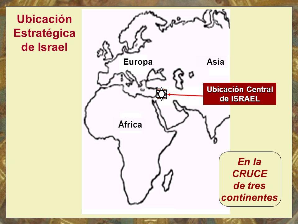 África Ubicación Central de ISRAEL Europa Asia Ubicación Estratégica de Israel En la CRUCE de tres continentes