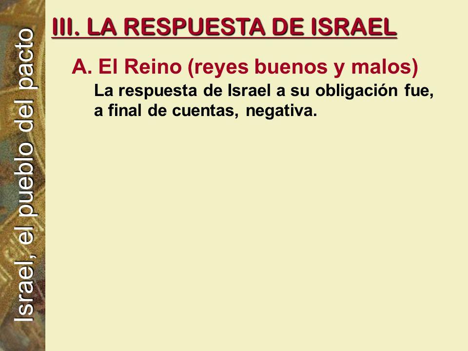 A. El Reino (reyes buenos y malos) La respuesta de Israel a su obligación fue, a final de cuentas, negativa. III. LA RESPUESTA DE ISRAEL Israel, el pu