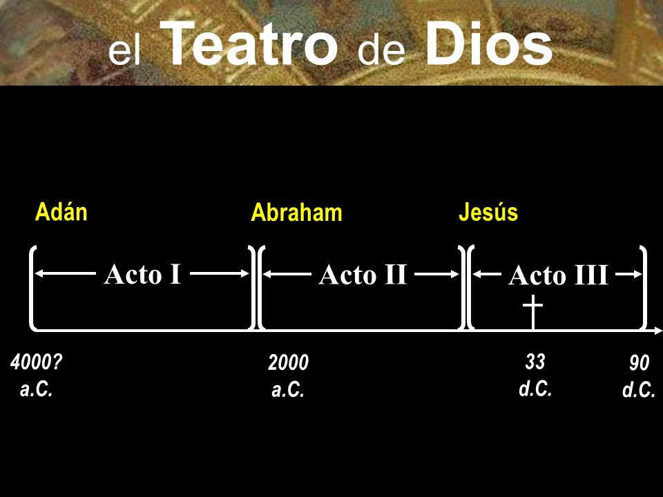Acto I Adán 4000 a.C. 33 d.C. Jesús Abraham 2000 a.C. Acto II 90 d.C. Acto III el Teatro de Dios