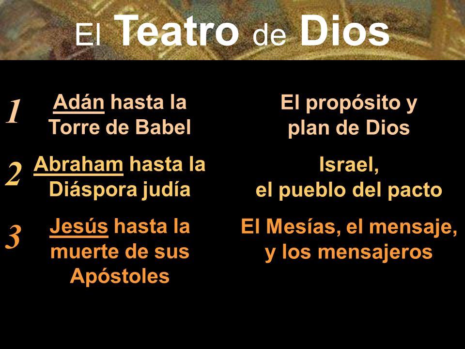 Adán hasta la Torre de Babel Abraham hasta la Diáspora judía Jesús hasta la muerte de sus Apóstoles El propósito y plan de Dios Israel, el pueblo del pacto El Mesías, el mensaje, y los mensajeros 123123 El Teatro de Dios