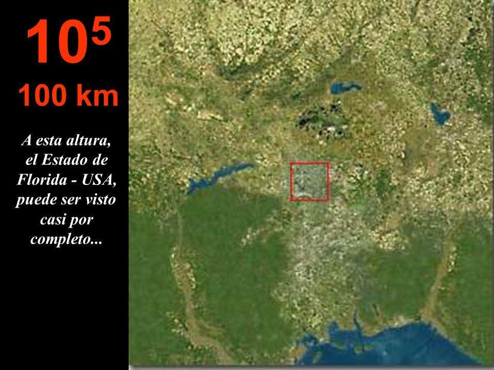 La ciudad es observada completamente Las casas ya no pueden ser identificadas 10 4 10 km