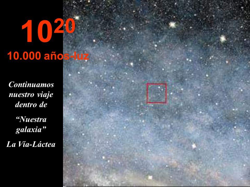 10 19 1.000 años-luz Las estrellas parecen fundirse Estamos viajando por la Vía-Láctea, Nuestra galaxia