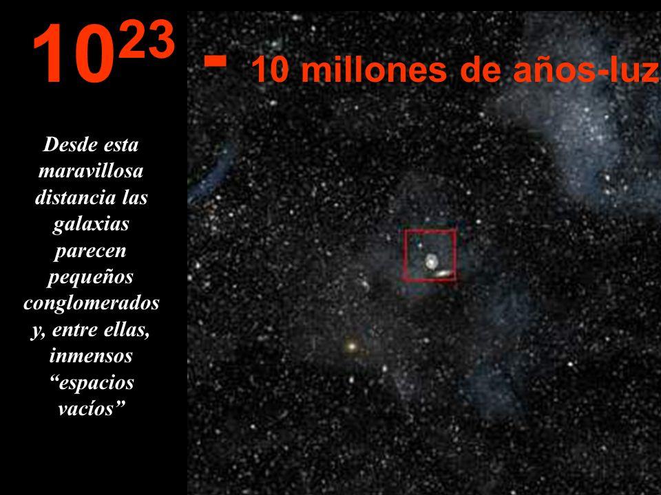Desde esta inmensa distancia podemos ver toda la Vía-Láctea y otras galaxias de la vecindad... 10 22 1 millón de años-luz