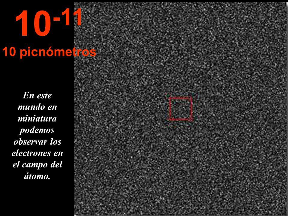 Aparecen las nubes de electrones del átomo de carbono. Note Usted la semejanza entre el microcosmos y el macrocosmos... 10 -10 1 Amgstron
