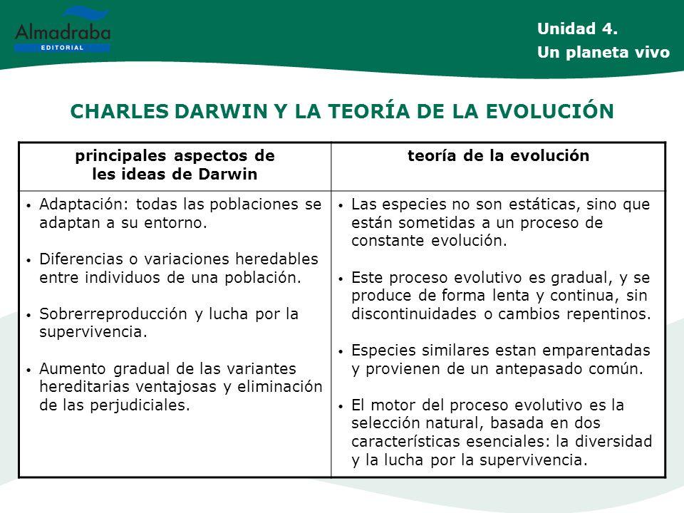CHARLES DARWIN Y LA TEORÍA DE LA EVOLUCIÓN principales aspectos de les ideas de Darwin teoría de la evolución Adaptación: todas las poblaciones se ada