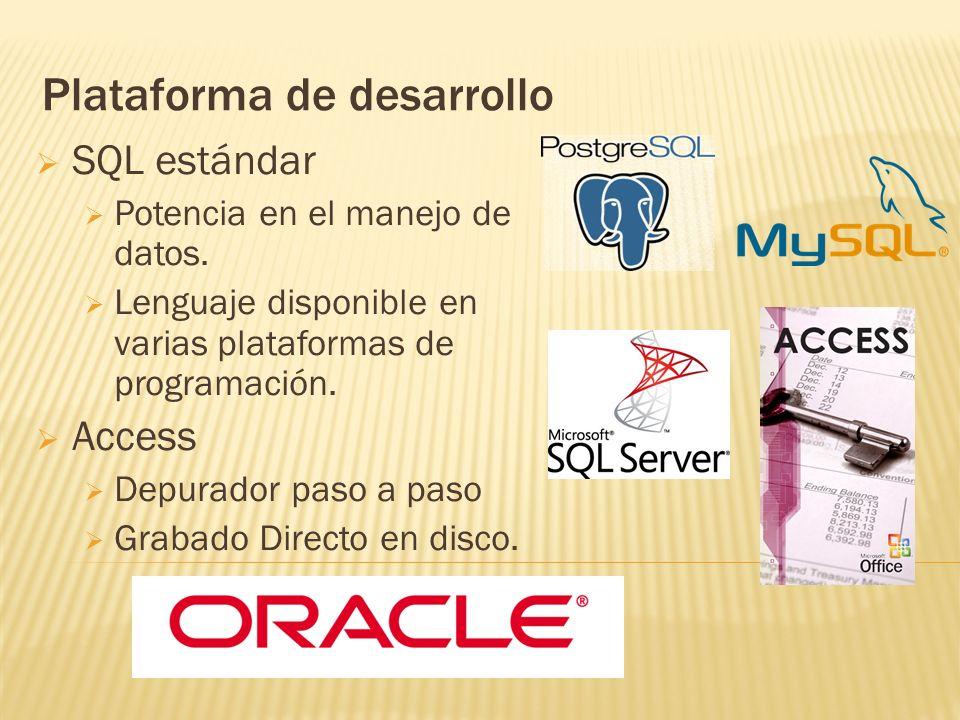 Plataforma de desarrollo SQL estándar Potencia en el manejo de datos. Lenguaje disponible en varias plataformas de programación. Access Depurador paso