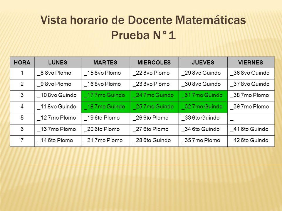 Vista horario de Docente Matemáticas Prueba N°1 HORALUNESMARTESMIERCOLESJUEVESVIERNES 1_8 8vo Plomo_15 8vo Plomo_22 8vo Plomo_29 8vo Guindo_36 8vo Gui