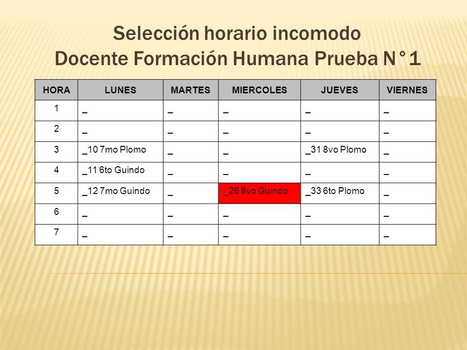 Selección horario incomodo Docente Formación Humana Prueba N°1 HORALUNESMARTESMIERCOLESJUEVESVIERNES 1_____ 2_____ 3_10 7mo Plomo___31 8vo Plomo_ 4_11
