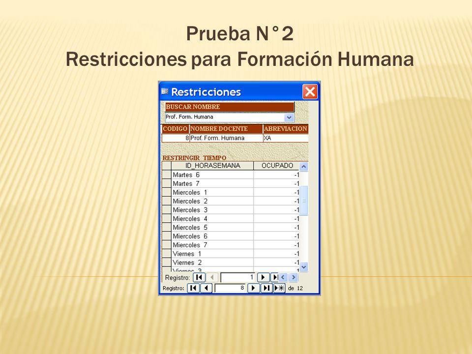 Prueba N°2 Restricciones para Formación Humana