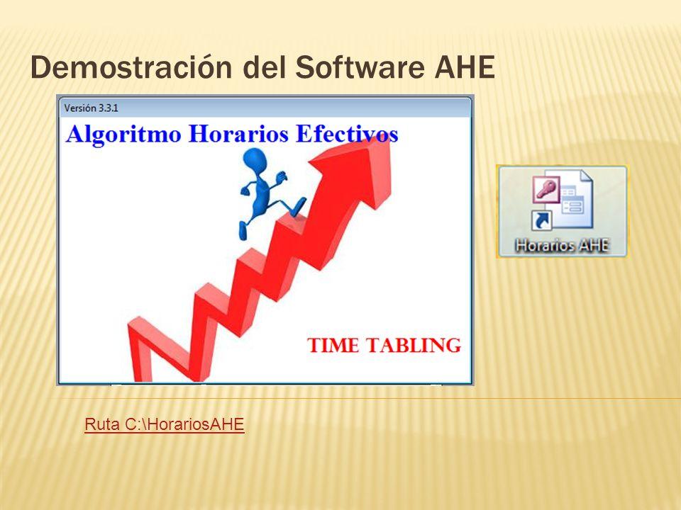 Demostración del Software AHE Ruta C:\HorariosAHE