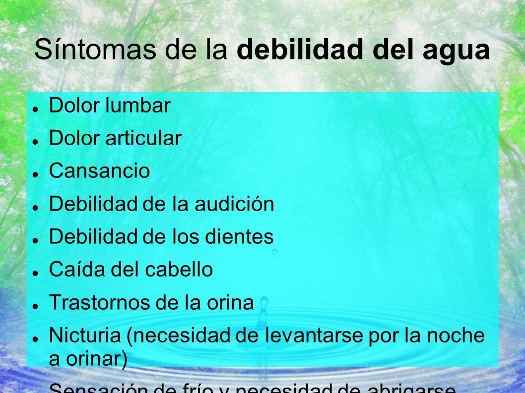Síntomas de la debilidad del agua Dolor lumbar Dolor articular Cansancio Debilidad de la audición Debilidad de los dientes Caída del cabello Trastorno