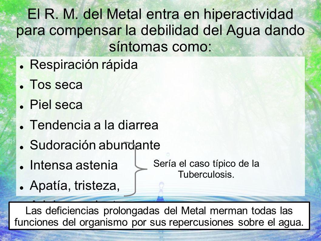 El R. M. del Metal entra en hiperactividad para compensar la debilidad del Agua dando síntomas como: Respiración rápida Tos seca Piel seca Tendencia a