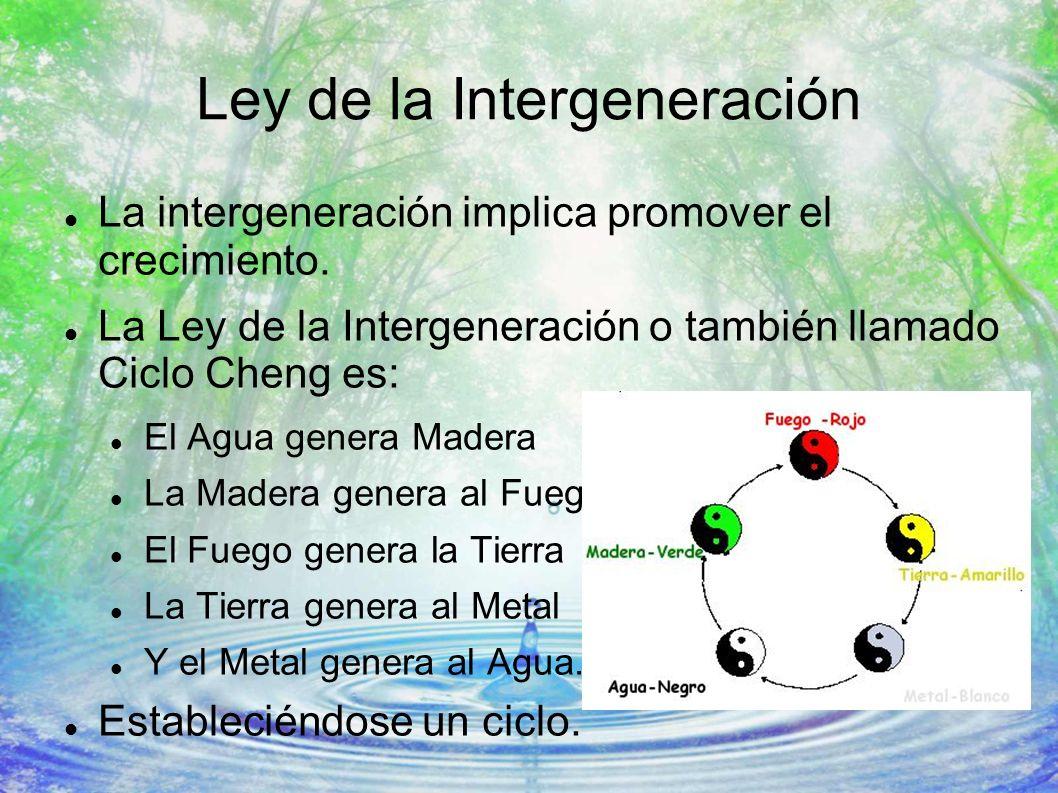 Ley de la Intergeneración La intergeneración implica promover el crecimiento. La Ley de la Intergeneración o también llamado Ciclo Cheng es: El Agua g