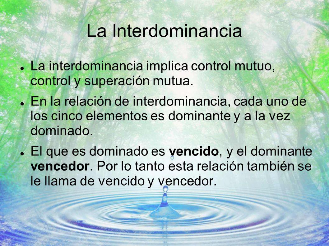 La Interdominancia La interdominancia implica control mutuo, control y superación mutua. En la relación de interdominancia, cada uno de los cinco elem