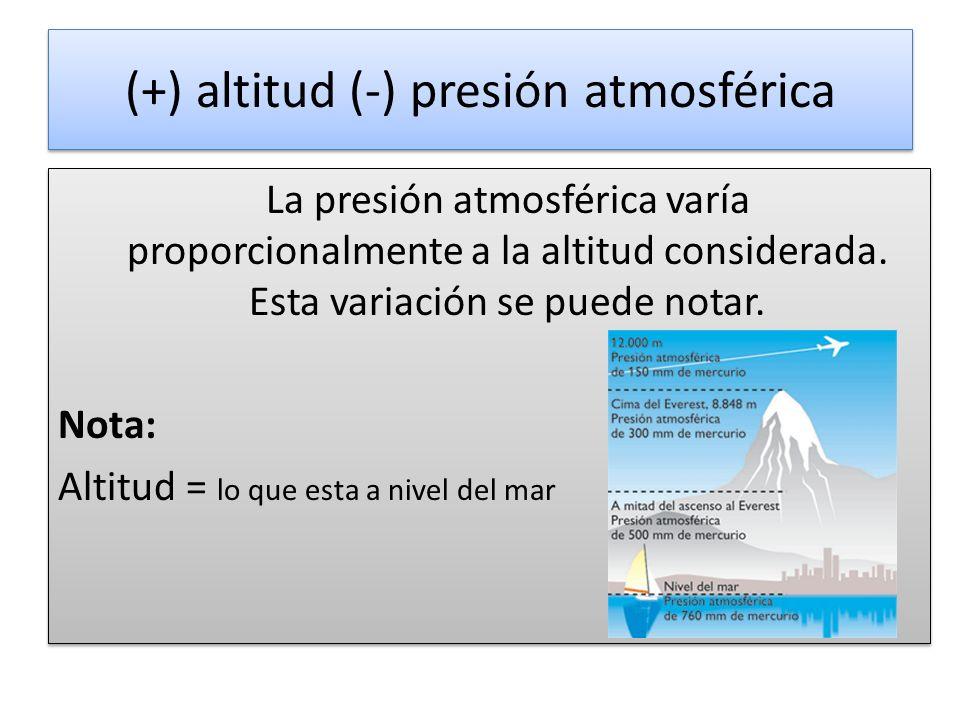(+) altitud (-) presión atmosférica La presión atmosférica varía proporcionalmente a la altitud considerada.