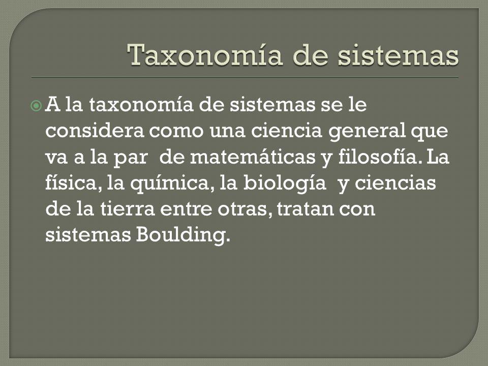 A la taxonomía de sistemas se le considera como una ciencia general que va a la par de matemáticas y filosofía. La física, la química, la biología y c