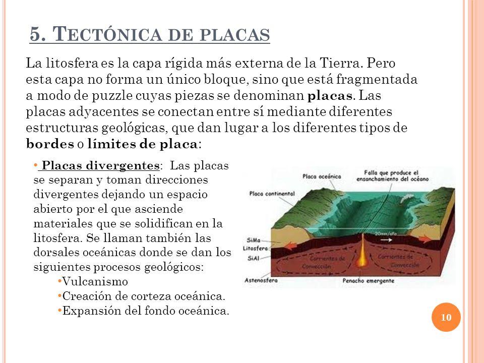 5.T ECTÓNICA DE PLACAS La litosfera es la capa rígida más externa de la Tierra.