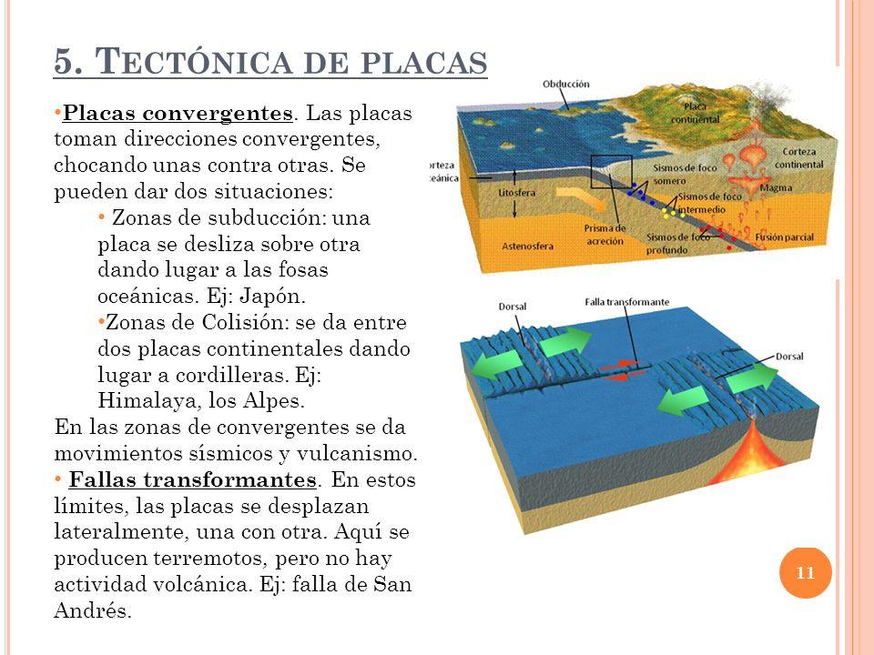 5.T ECTÓNICA DE PLACAS Placas convergentes.