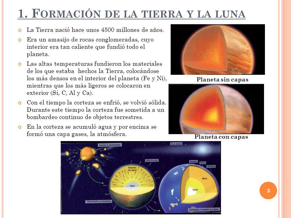 1.F ORMACIÓN DE LA TIERRA Y LA LUNA La Tierra nació hace unos 4500 millones de años.