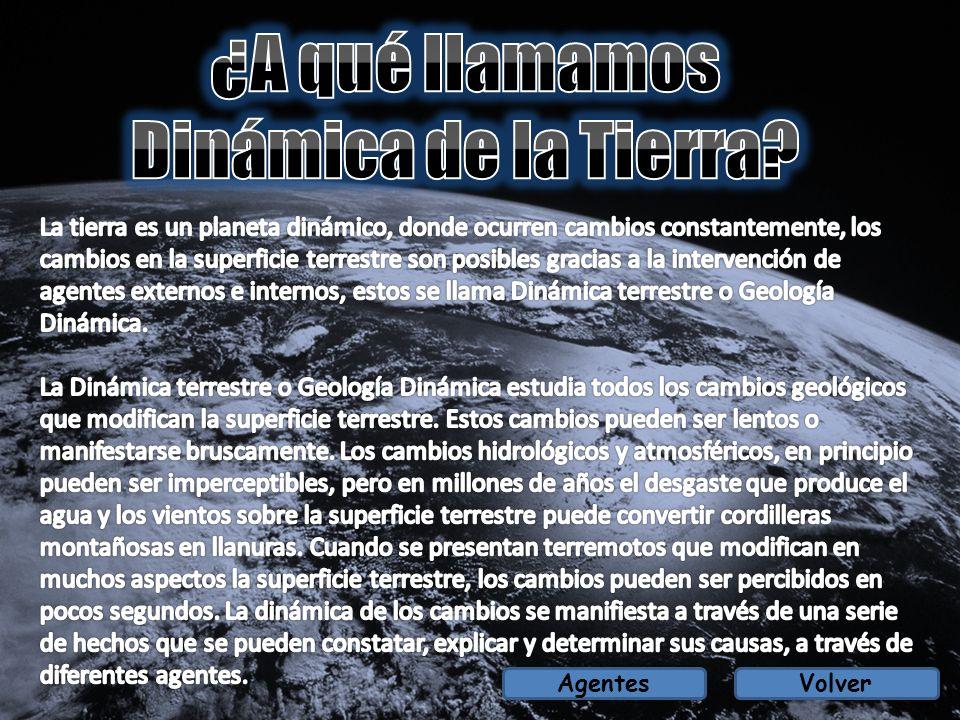 EXTERNOS: Agentes Atmosféricos: Los agentes atmosféricos como el viento, la temperatura, rayos, meteoritos, agentes contaminantes, entre otros, tiene gran influencia en los cambios terrestres.
