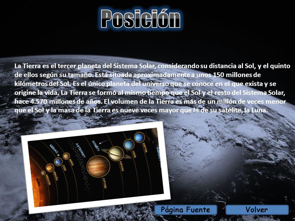 VolverPágina Fuente La Tierra es el tercer planeta del Sistema Solar, considerando su distancia al Sol, y el quinto de ellos según su tamaño. Está sit