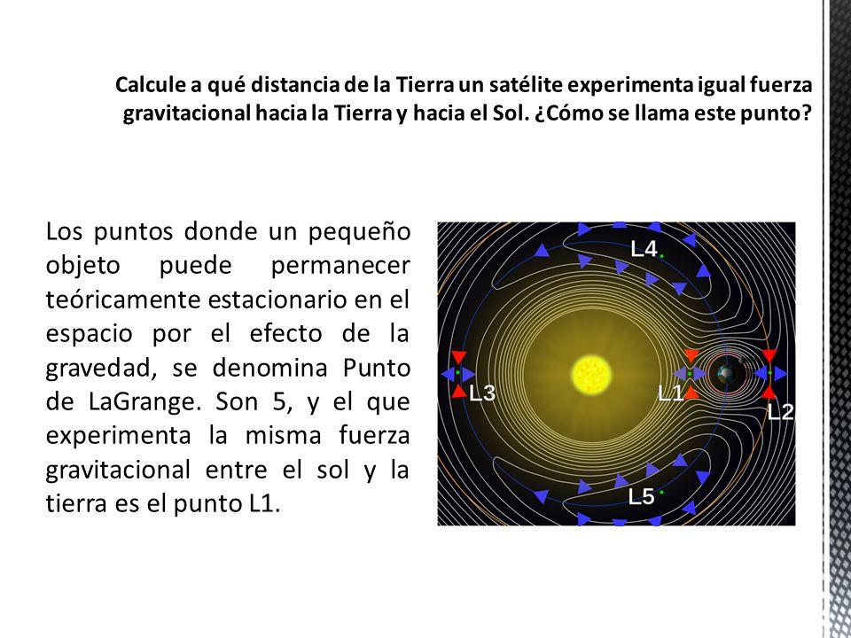 El punto de LaGrange L1 se calcula con la siguiente ecuación: Donde: M es la masa del sol m es la masa de la tierra R es la distancia del sol a L1 r es la distancia de la tierra a L1 v es el periodo orbital También sabemos que la distancia del sol a la tierra es 1 Unidad Astronómica, entonces: Resolviendo el sistema de ecuaciones tenemos: