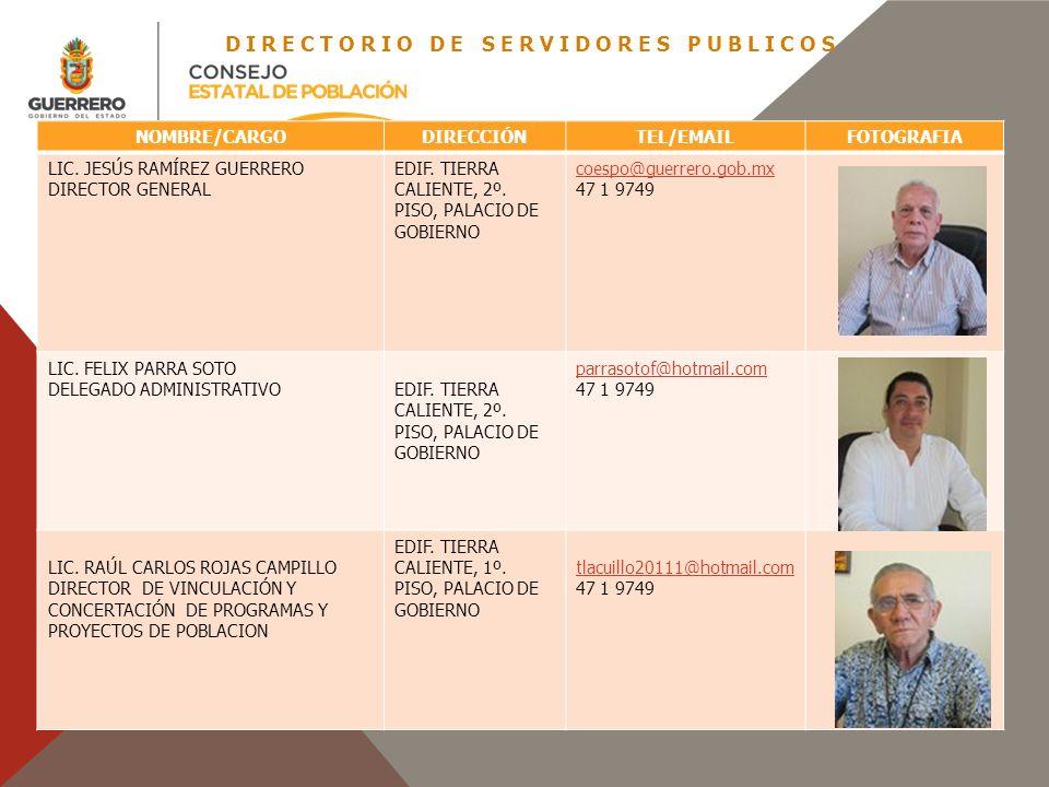 DIRECTORIO DE SERVIDORES PUBLICOS NOMBRE/CARGODIRECCIÓNTEL/EMAILFOTOGRAFIA LIC. JESÚS RAMÍREZ GUERRERO DIRECTOR GENERAL EDIF. TIERRA CALIENTE, 2º. PIS