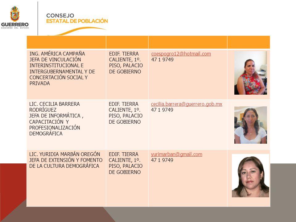 ING. AMÉRICA CAMPAÑA JEFA DE VINCULACIÓN INTERINSTITUCIONAL E INTERGUBERNAMENTAL Y DE CONCERTACIÓN SOCIAL Y PRIVADA EDIF. TIERRA CALIENTE, 1º. PISO, P