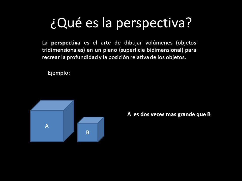 ¿Qué es la perspectiva? La perspectiva es el arte de dibujar volúmenes (objetos tridimensionales) en un plano (superficie bidimensional) para recrear