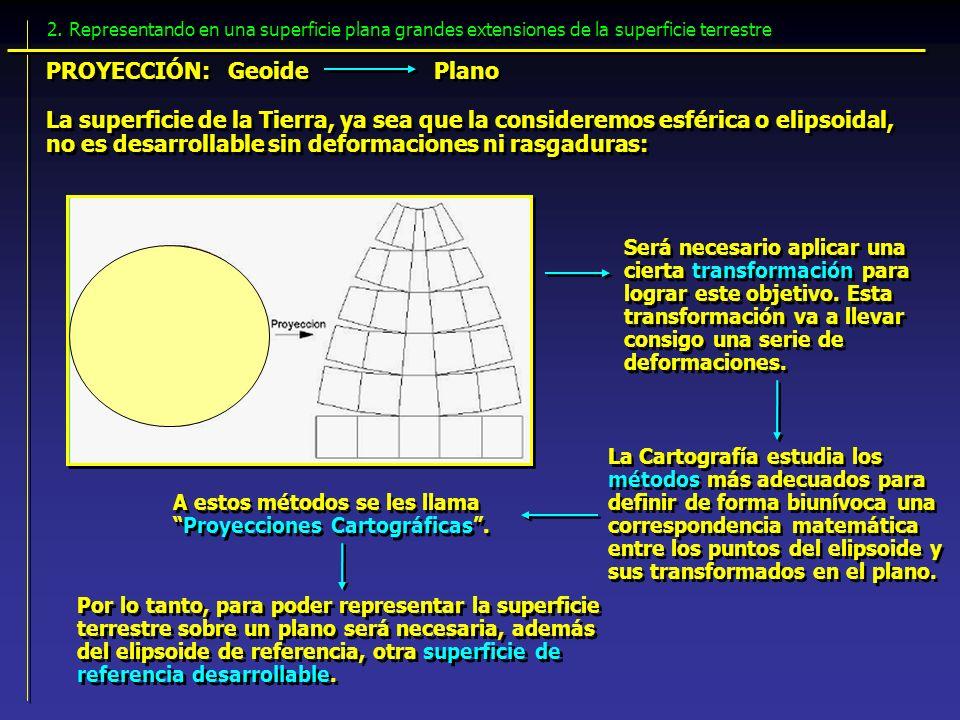 La superficie de la Tierra, ya sea que la consideremos esférica o elipsoidal, no es desarrollable sin deformaciones ni rasgaduras: Será necesario apli