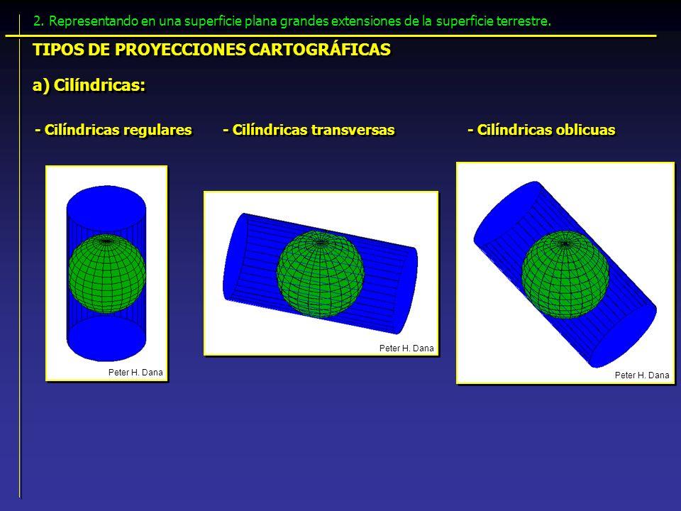TIPOS DE PROYECCIONES CARTOGRÁFICAS a) Cilíndricas: - Cilíndricas regulares - Cilíndricas transversas - Cilíndricas oblicuas Peter H. Dana 2. Represen