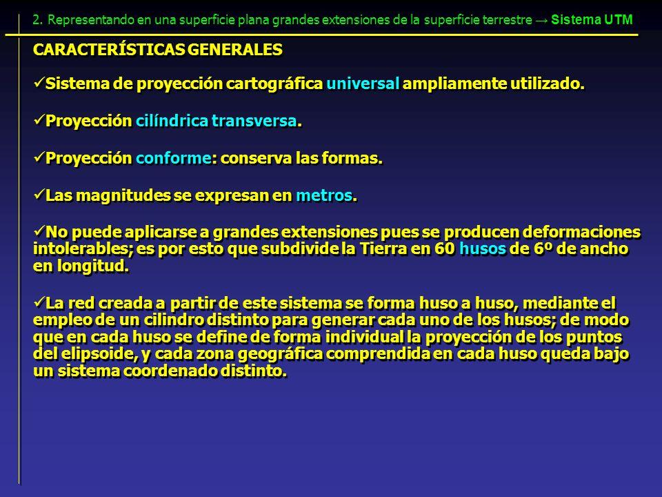 CARACTERÍSTICAS GENERALES Proyección cilíndrica transversa. Proyección conforme: conserva las formas. Sistema de proyección cartográfica universal amp