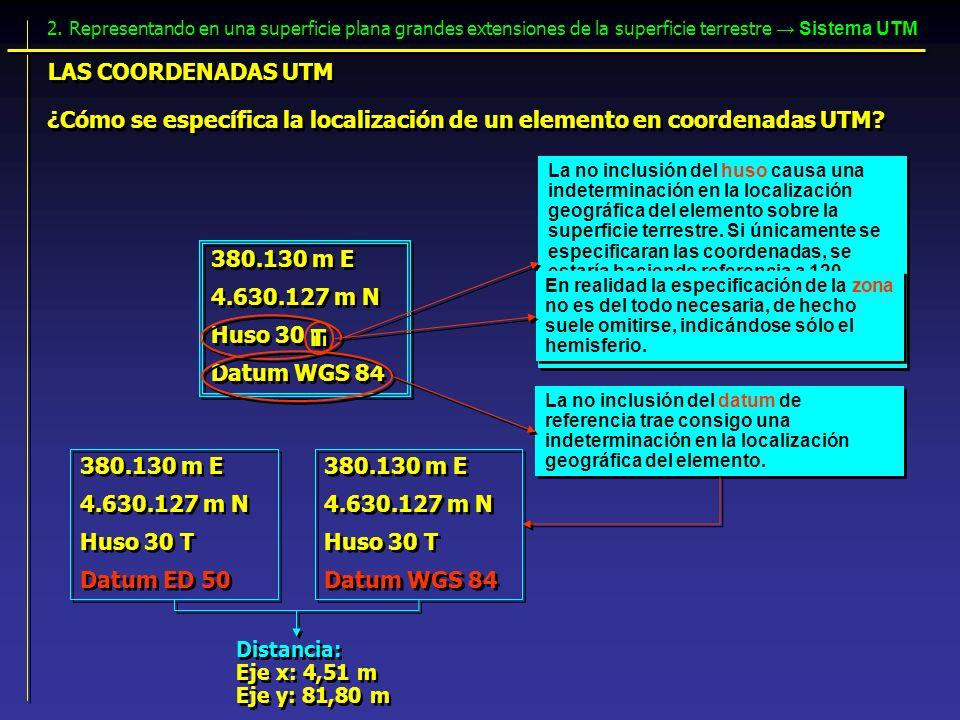 ¿Cómo se específica la localización de un elemento en coordenadas UTM? 380.130 m E 4.630.127 m N Huso 30 Datum WGS 84 380.130 m E 4.630.127 m N Huso 3
