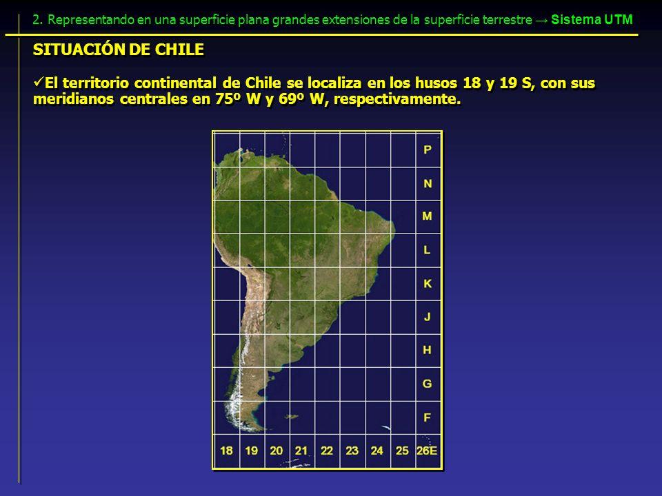 El territorio continental de Chile se localiza en los husos 18 y 19 S, con sus meridianos centrales en 75º W y 69º W, respectivamente. SITUACIÓN DE CH