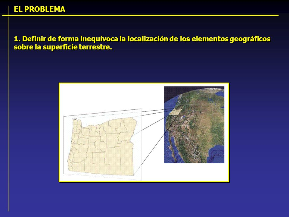 1. Definir de forma inequívoca la localización de los elementos geográficos sobre la superficie terrestre. EL PROBLEMA