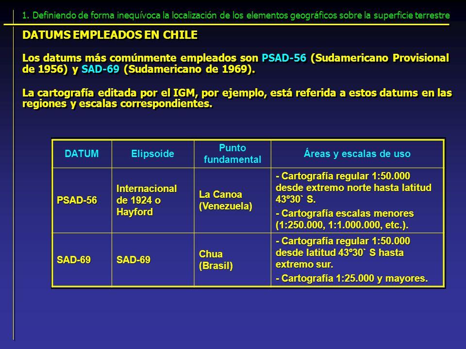 Los datums más comúnmente empleados son PSAD-56 (Sudamericano Provisional de 1956) y SAD-69 (Sudamericano de 1969). DATUMS EMPLEADOS EN CHILE 1. Defin