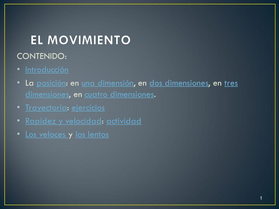 CONTENIDO: Introducción La posición: en una dimensión, en dos dimensiones, en tres dimensiones, en cuatro dimensiones.posiciónuna dimensióndos dimensi