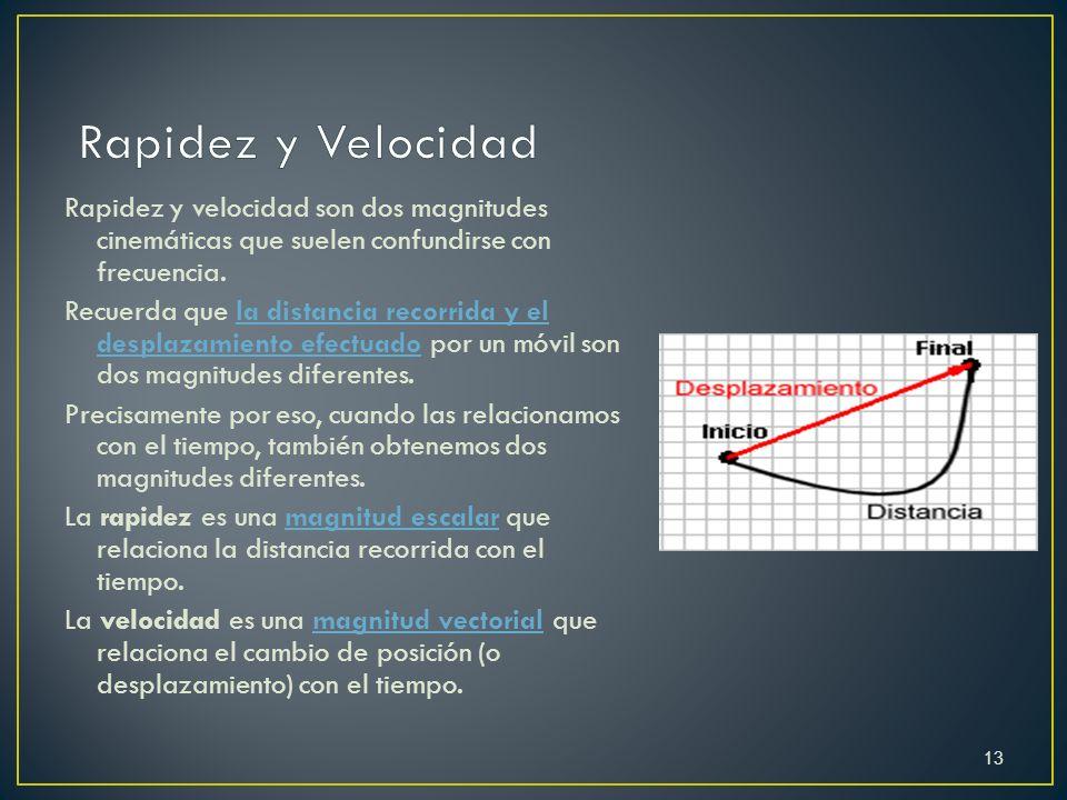 Rapidez y velocidad son dos magnitudes cinemáticas que suelen confundirse con frecuencia. Recuerda que la distancia recorrida y el desplazamiento efec