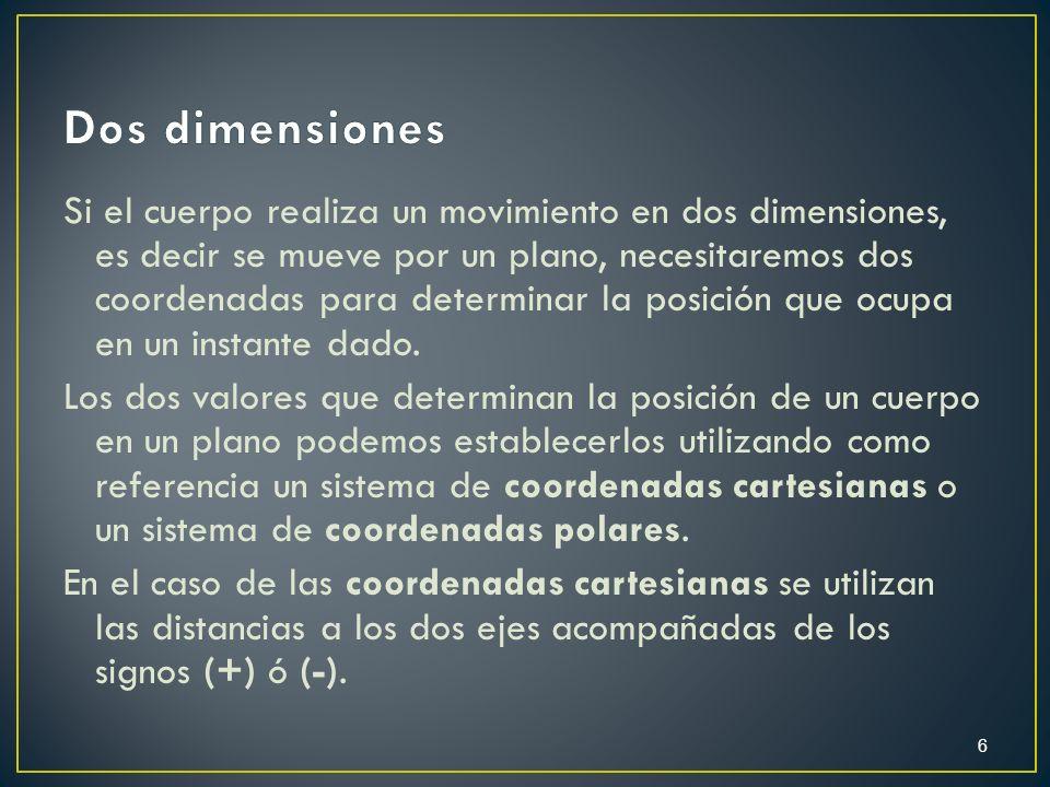 Si el cuerpo realiza un movimiento en dos dimensiones, es decir se mueve por un plano, necesitaremos dos coordenadas para determinar la posición que o