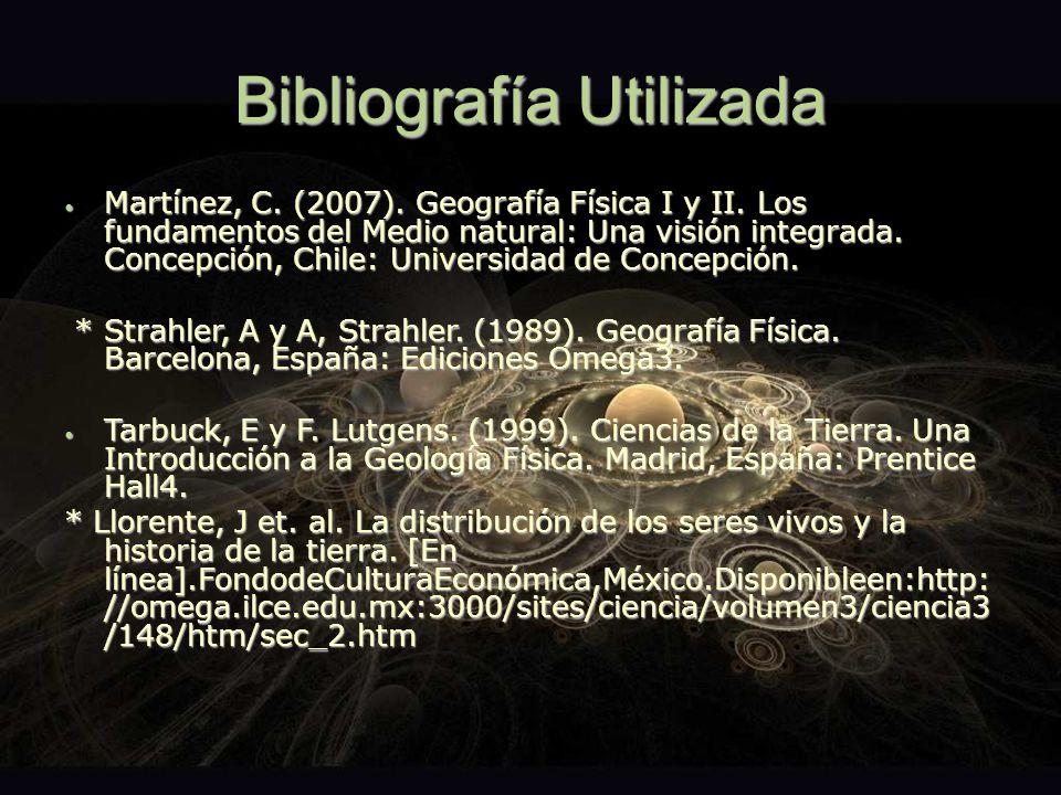 Bibliografía Utilizada Martínez, C. (2007). Geografía Física I y II. Los fundamentos del Medio natural: Una visión integrada. Concepción, Chile: Unive