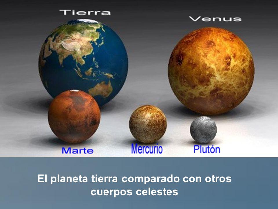 La tierra comparada con los planetas mayores del sistema solar