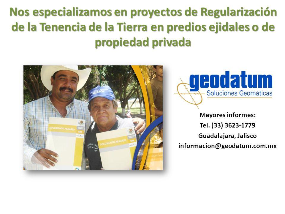 Nos especializamos en proyectos de Regularización de la Tenencia de la Tierra en predios ejidales o de propiedad privada Mayores informes: Tel. (33) 3