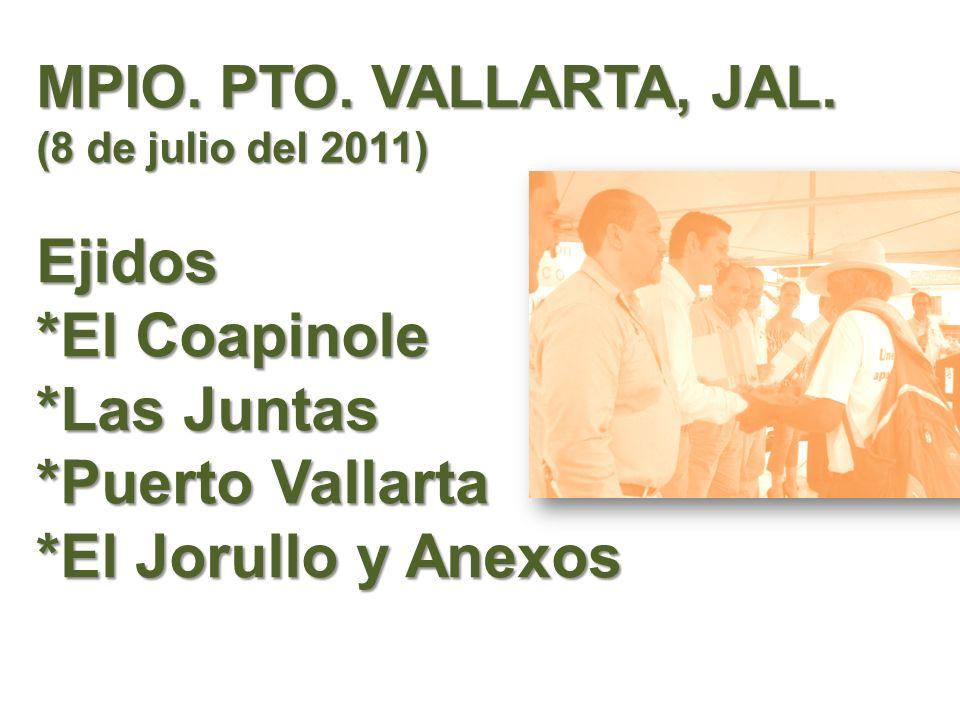 MPIO. PTO. VALLARTA, JAL. (8 de julio del 2011) Ejidos *El Coapinole *Las Juntas *Puerto Vallarta *El Jorullo y Anexos