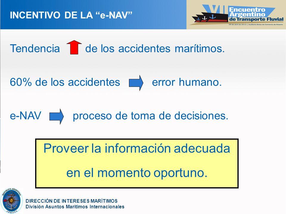 YOUR LOGO DIRECCIÓN DE INTERESES MARÍTIMOS División Asuntos Marítimos Internacionales INCENTIVO DE LA e-NAV Tendencia de los accidentes marítimos. 60%