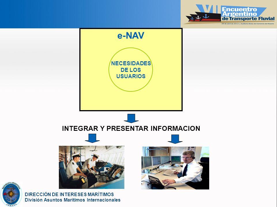 YOUR LOGO DIRECCIÓN DE INTERESES MARÍTIMOS División Asuntos Marítimos Internacionales e-NAV NECESIDADES DE LOS USUARIOS INTEGRAR Y PRESENTAR INFORMACION